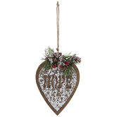 Hope Heart With Holly Ornament