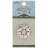 Pearl & Rhinestone Round Shank Button - 33mm