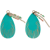 Turquoise Imitation Leather Beaded Pendants