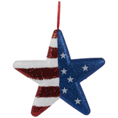 Stars & Stripes Glitter Star Ornament