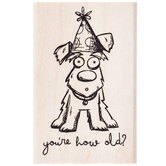 How Old Birthday Dog Rubber Stamp
