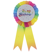 Multi-Color It's My Birthday Ribbon Pin