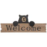 Welcome Black Bear Wood Decor