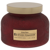 Spiced Pomander Frosted Red Floral Jar Candle