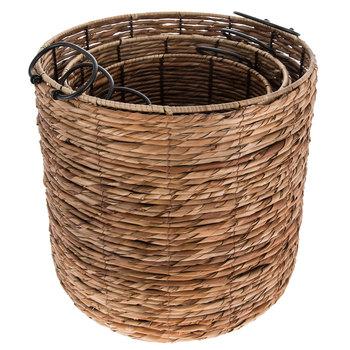 Natural & Black Cylinder Rattan Basket Set