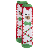 Llama Fuzzy Crew Socks