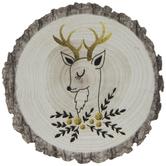 Tree Rings Reindeer Wood Magnet