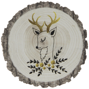 Tree Rings Reindeer Wood Magnet