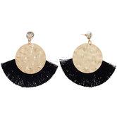 Black Tassel Fan Earrings