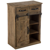 Rustic Wood Cabinet With Sliding Door