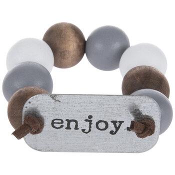 Enjoy Beaded Wood Napkin Ring