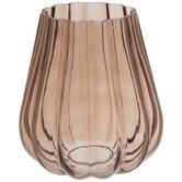 Dark Brown Curved Ribbed Glass Vase