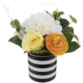 Floral Arrangement In Black & White Striped Pot