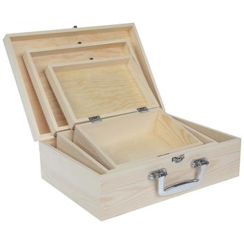 Wood Box With Handle Set