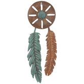 Feathered Concho Metal Wall Decor
