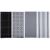 White, Gray & Black Patterned Kitchen Towels