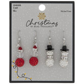 Santa & Snowman Rhinestone Earrings
