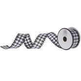 "Black & White Gingham Ribbon With Pom Pom Edge - 1 1/2"""