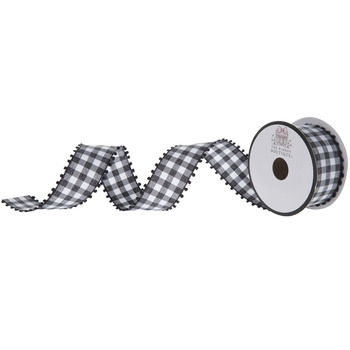 Gingham Ribbon With Pom Pom Edge - 1 1/2""