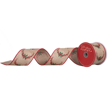 """Holly Wired Edge Ribbon - 2 1/2"""""""