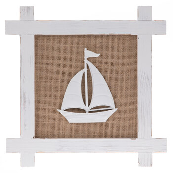 White Sailboat Wood Wall Decor