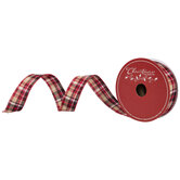 "Red, Tan & Black Plaid Wired Edge Ribbon - 1 1/2"""