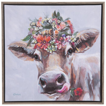 Cow & Flowers Canvas Wall Decor
