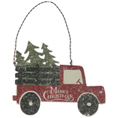 Red Truck With Christmas Trees Ornament