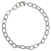 Sterling Silver Plated Etched Cable Chain Bracelet - 6mm x 7 1/2""
