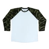 Green Camo Sleeve Adult Baseball T-Shirt - Extra Small