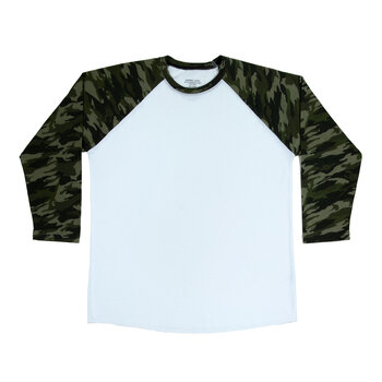 Camo Sleeve Adult Baseball T-Shirt