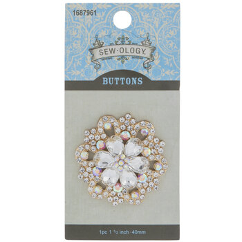 Rhinestone Flower Shank Button - 40mm