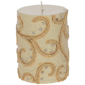 Metallic Embossed Scroll Pillar Candle