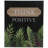 Think Positive Leafy Wood Wall Decor