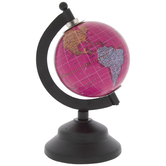 Mini Pink Globe On Black Stand