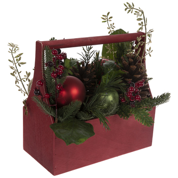 Pine & Ornaments Tool Box Arrangement