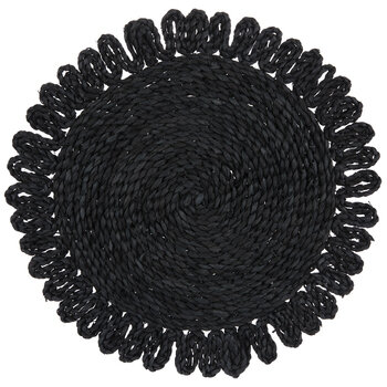 Black Woven Round Placemat