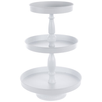 White Three-Tiered Metal Tray