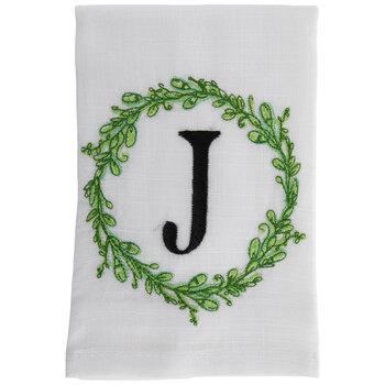 Greenery Wreath Letter Cloth Napkin - J
