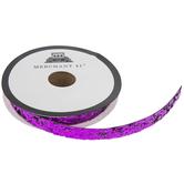 """Fuchsia Glitter Leather Trim - 3/8"""""""