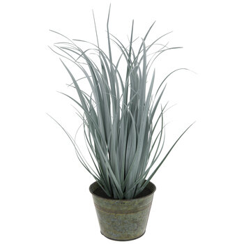 Pale Green Grass In Distressed Metal Pot