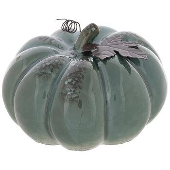 Blue Distressed Pumpkin With Metal Leaf