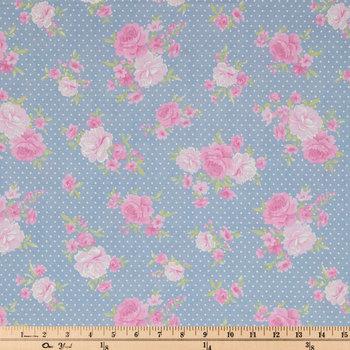 Chambray Blue Roses & Mini Dots Cotton Calico Fabric
