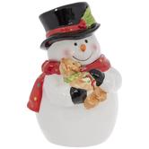Snowman With Teddy Bear Cookie Jar