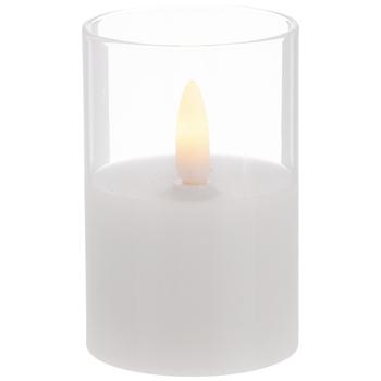 White Pillar Glass LED Candle