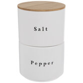 White Stackable Salt & Pepper Cellars