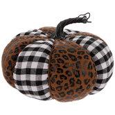 Leopard & Buffalo Check Plush Pumpkin