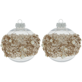 Blush Sequin, Bead & Pearl Ball Ornaments