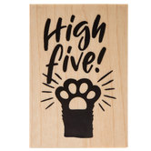 High Five Paw Rubber Stamp