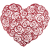 Metallic Red Roses Heart Placemat